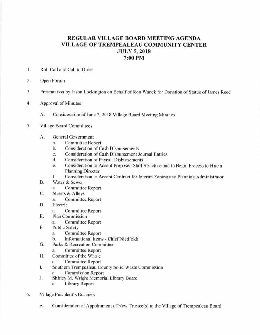Village Board Meeting Agenda – Thursday July 5th at 7 pm